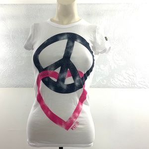 PINK Victorias Secret Size XS Peace Love Tee EUC